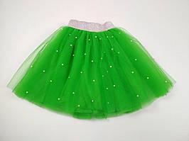 Зеленая юбка из фатина с бусинами для девочки 110-140 р