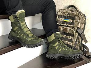 Берцы мужские ботинки зимние с мехом зеленые хаки высокие Харьков Military Boots Dark Green High Winter
