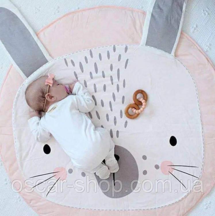 Плед коврик в детскую комнату Розовый Зайка