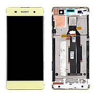 Дисплей (LCD) Sony F3111 Xperia XA | F3112 | F3113 | F3115 | F3116 с тачскрином и рамкой, золотой, Lime Gold ориг.