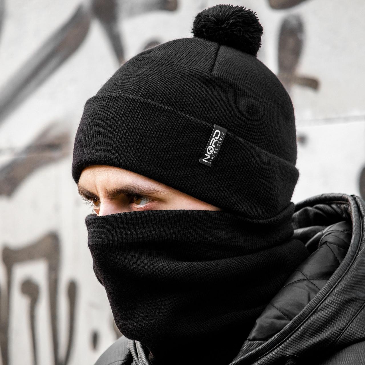 Мужская шапка + бафф черный комплект