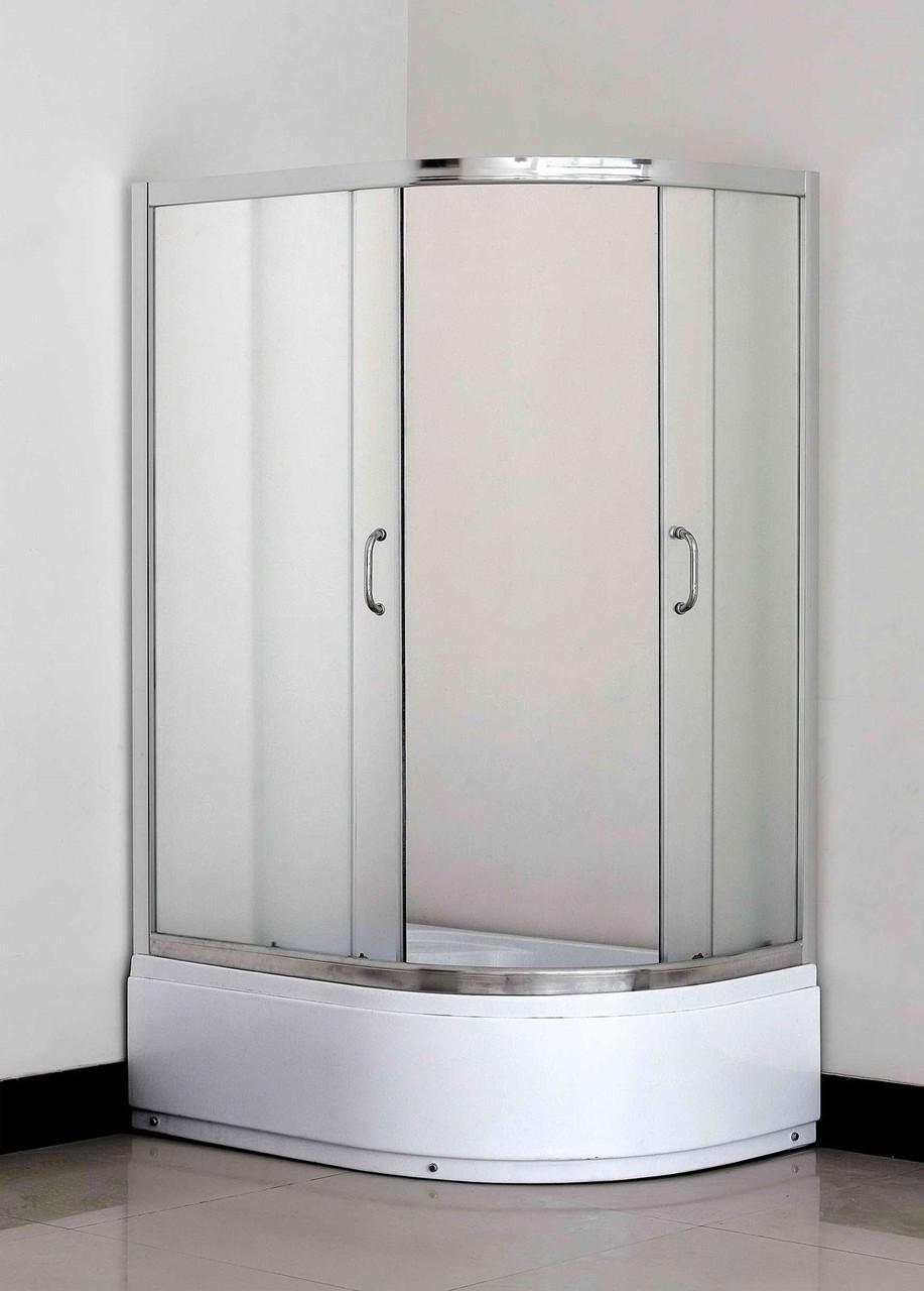 Кабина душевая полукруглая 1115L-F ECO 115х85х195/ стекло Fabric/ поддон - 36см
