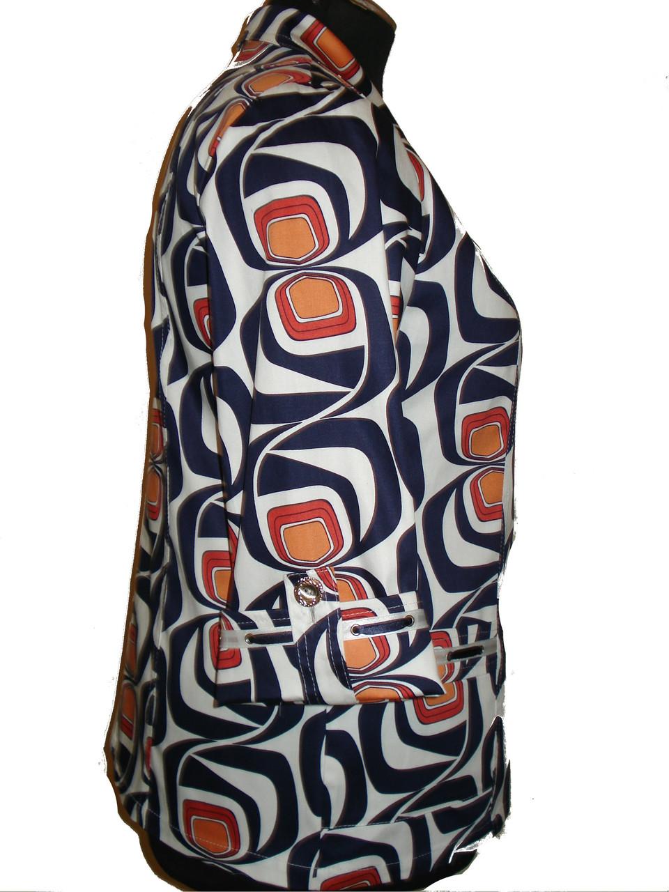Летний  яркий пиджак со стреч-котона ,с накладными карманами 70-2