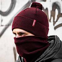 Мужская шапка + бафф бордовый комплект