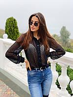 Блуза женская модная органза в горошек Bl399, фото 1