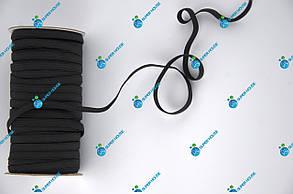 Тесьма эластичная, резинка вязаная. Ширина 5мм, длина 50 метров. Черная.