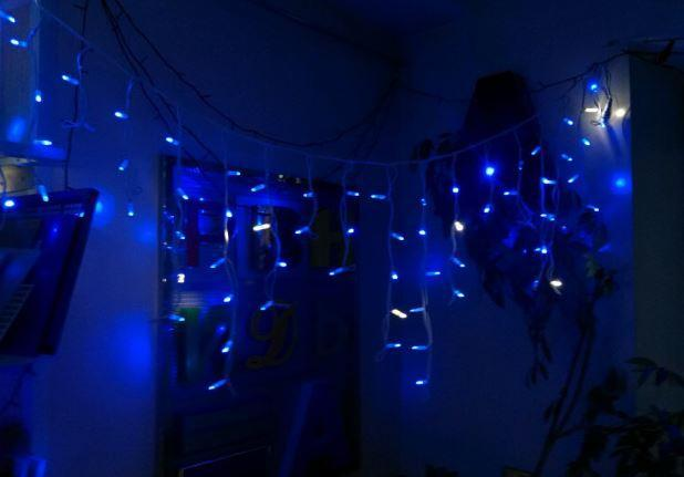 """[ОПТ] Внутрішня новорічна гірлянда-штора """"Бахрома"""", 640LED (480LED), 3 х 3м, синя"""