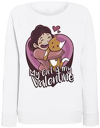 Женский свитшот My Cat Is My Valentine (белый)