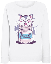 Женский свитшот Cat Antidepressant (белый)
