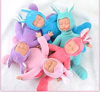 Кукла беби борн Зайка-Сплюшка 40 см. Мягкая игрушка-сплюшка заяц