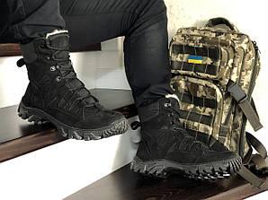 Берцы мужские ботинки зимние с мехом черные высокие Харьков Military Boots Black High Winter