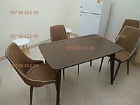 Стол кухонный Орех темный Раскладной Модерн 120(160)х75 СО-293.3 массив БУК+МДФ