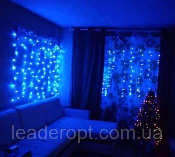 """[ОПТ] Внутрішня новорічна гірлянда-штора """"Бахрома"""" з мерехтінням, 320LED, 2 х 2м, (синій, холодний білий)"""