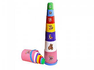 """Іграшка пірамідка """"Пасочки з відром ТехноК"""", 2049 (25шт) 45 × 11 × 10.5 см"""