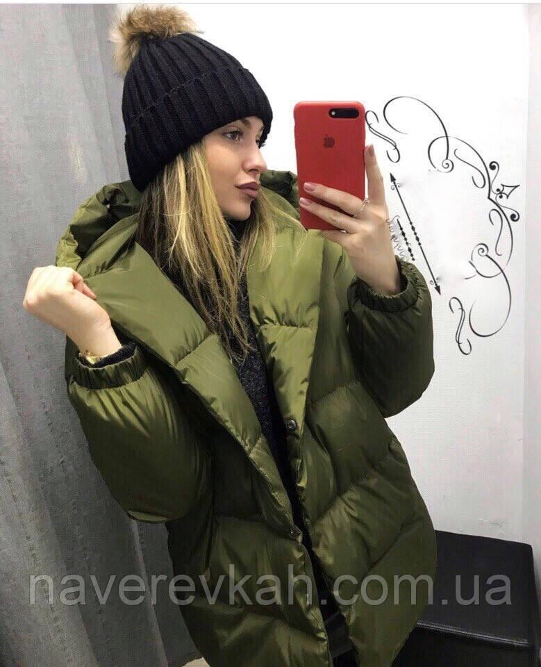 Женская зимняя удлинённая куртка зефирка синтепон олива, черный, мята, розовый бордо серый беж 42 44 46, фото 1
