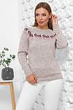 Жіночий в'язаний светр з вишивкою (3 кольори, р. 44-48 UNI), фото 2