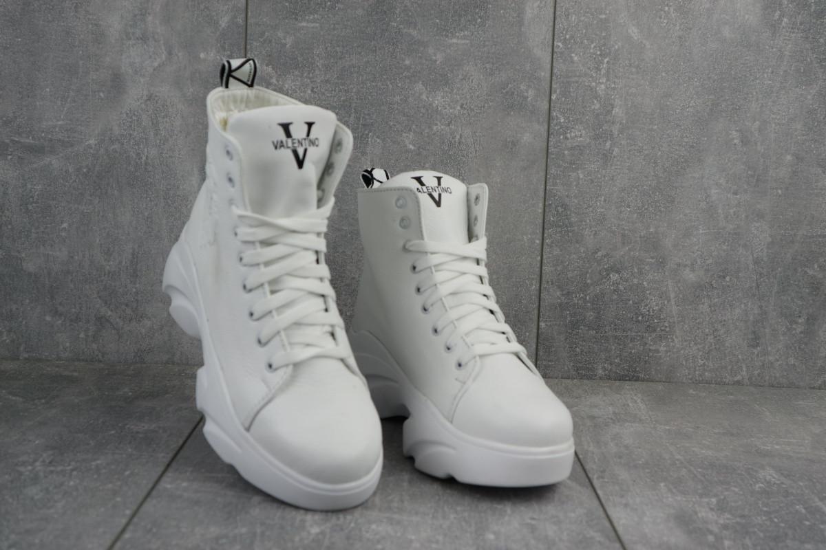 Стильные женские зимние кожаные ботинки Best Vak на высокой подошве белые