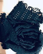 трикотажный  ажурный шарф кружевной вязки цвет морская волна