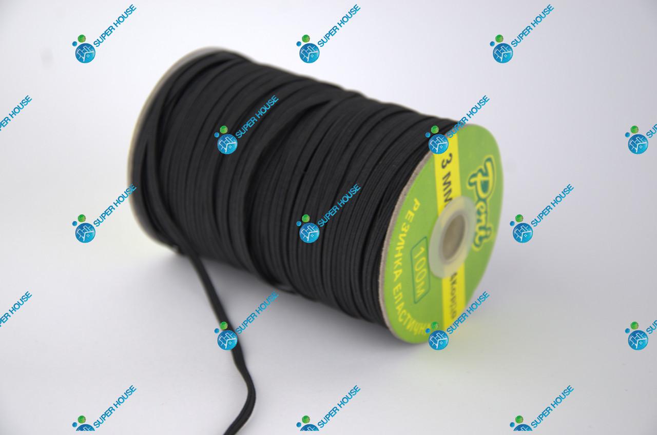 Тесьма эластичная, резинка вязаная. Ширина 3мм, длина 50 метров. Черная.