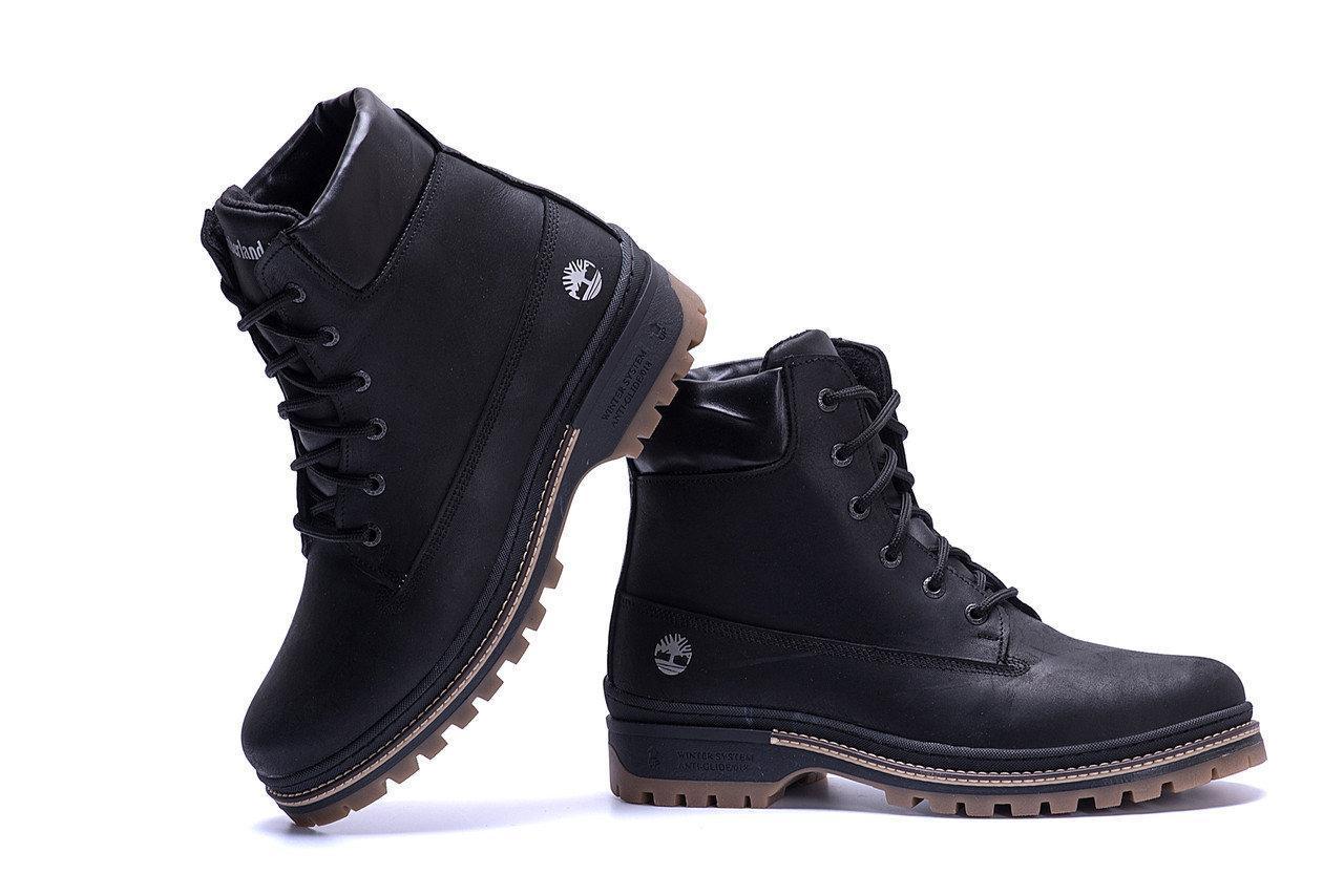 Ботинки мужские зимние кожаные в стиле Timberlend Crazy Shoes Black