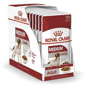Вологий корм для собак Royal Canin Medium Adult для середніх порід блок 140 г*10 шт.