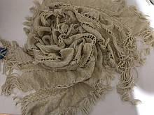 Ажурный шарф кружевной вязки   бежевый