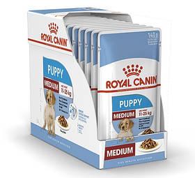 Вологий корм для цуценят Royal Canin Medium Puppy для середніх порід блок 140 г*10 шт.
