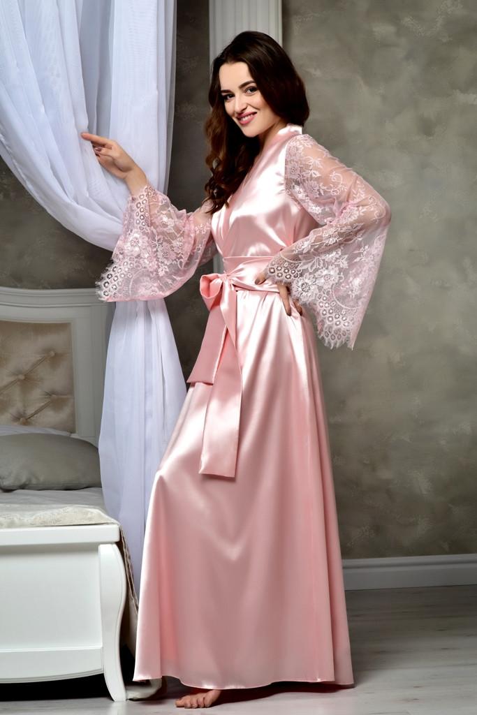 Атласный халат в пол с кружевным рукавом цвет Королевский Розовый от XS до XXXL