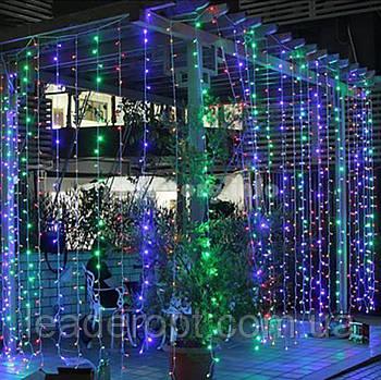 """[ОПТ] Вулична новорічна світлодіодна гірлянда """"Завісу"""" з мерехтінням, 288LED, 3м*1.5 м, IP-44, 3 кольори"""