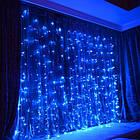 """[ОПТ] Уличная светодиодная новогодняя гирлянда """"Занавес"""" с мерцанием, 216LED, 2м*2м, IP-44, синяя, фото 3"""