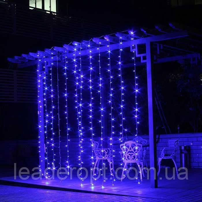 """[ОПТ] Уличная светодиодная новогодняя гирлянда """"Занавес"""" с мерцанием, 216LED, 2м*2м, IP-44, синяя"""