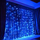 """[ОПТ] Вулична новорічна світлодіодна гірлянда """"Завісу"""" з мерехтінням, 240LED, 2м*2м, IP-44, (синій, теплий, фото 4"""