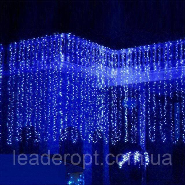 """[ОПТ] Вулична новорічна світлодіодна гірлянда """"Завісу"""" з мерехтінням, 240LED, 2м*2м, IP-44, (синій, теплий"""