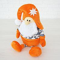 Гномик Санта мягкая игрушка Kidsqo оранжевый  53см