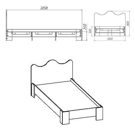 Кровать 100 МДФ Компанит Венге, КОД: 182330, фото 2