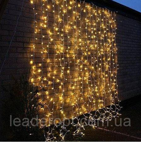 """[ОПТ] Вулична новорічна світлодіодна гірлянда """"Завісу"""" з мерехтінням, 216LED, 2м*2м, IP-44, (теплий білий)"""