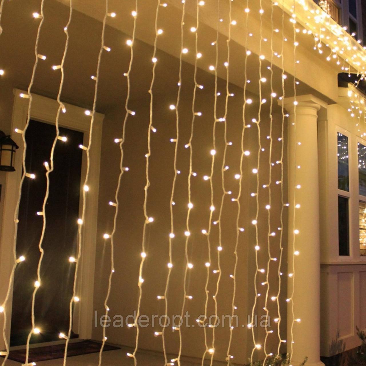 """[ОПТ] Уличная светодиодная новогодняя гирлянда """"Занавес"""" с мерцанием, 480LED, 3м*3м, IP-44, (теплый белый)"""