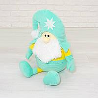 Гномик Санта мягкая игрушка Kidsqo мятно-жёлтый  53см