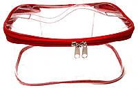 Косметичка прозрачная дорожная силиконовая женская красная