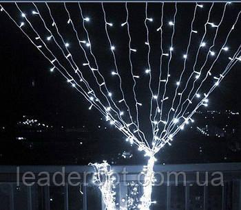 """[ОПТ] Уличная светодиодная новогодняя гирлянда """"Занавес"""" с мерцанием, 216LED, 2м*2м, IP-44, (холодный белый)"""