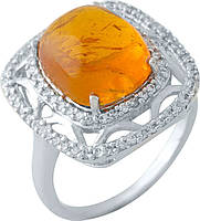 Серебряное кольцо SilverBreeze с янтарем (1971697) 17.5 размер