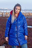 Двухсторонняя теплая женская куртка на завязках c капюшоном плащевка батал