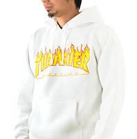 "Худи Thrasher  Logo Кенгуру мужская  """" В стиле Thrasher """"  белая"