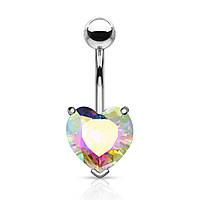 Серьга для пирсинга пупка в виде крупного сердца Spikes «Алмазная»