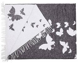 Плед Хлопковый 140X200 VLADI Бабочки Темно-Серый, фото 3