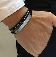 Кожаный мужской браслет, двойной. Черный.