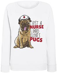 Женский свитшот Nurse Pug (белый)