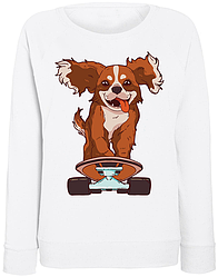 Женский свитшот Skating Dog (белый)