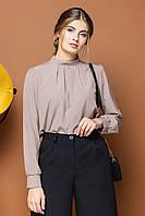 Темно-бежевая блузка на стойке со складами