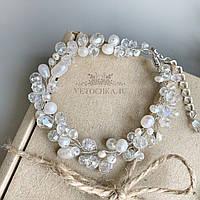 Свадебный браслет для невесты с речным жемчугом ручной работы